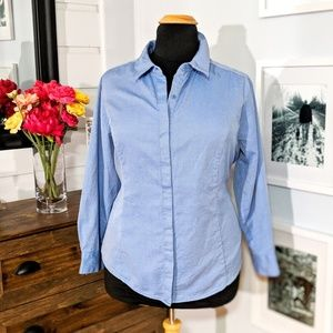 Lane Bryant Plus Size Blue Button Up Shirt